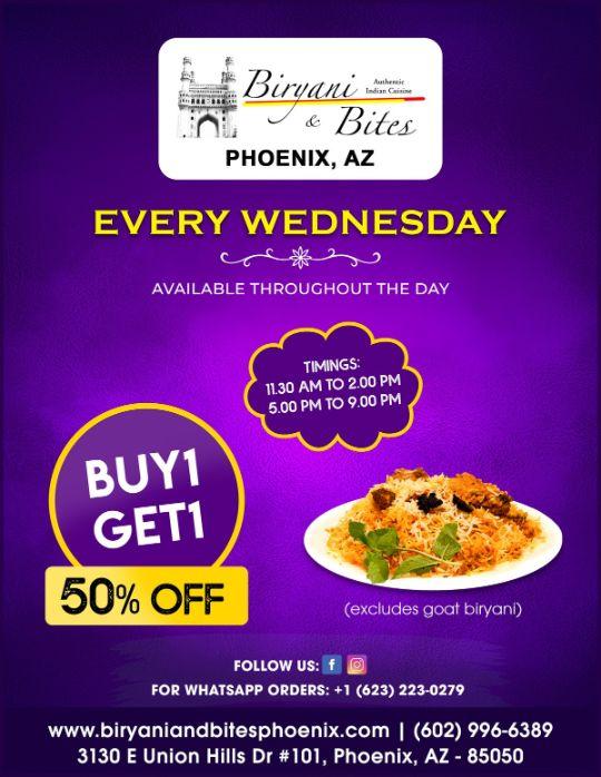 Wednesday Special(biryani buy one get 50% off)