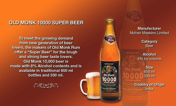 Old Monk 10000 Super Beer - 22 oz Btl