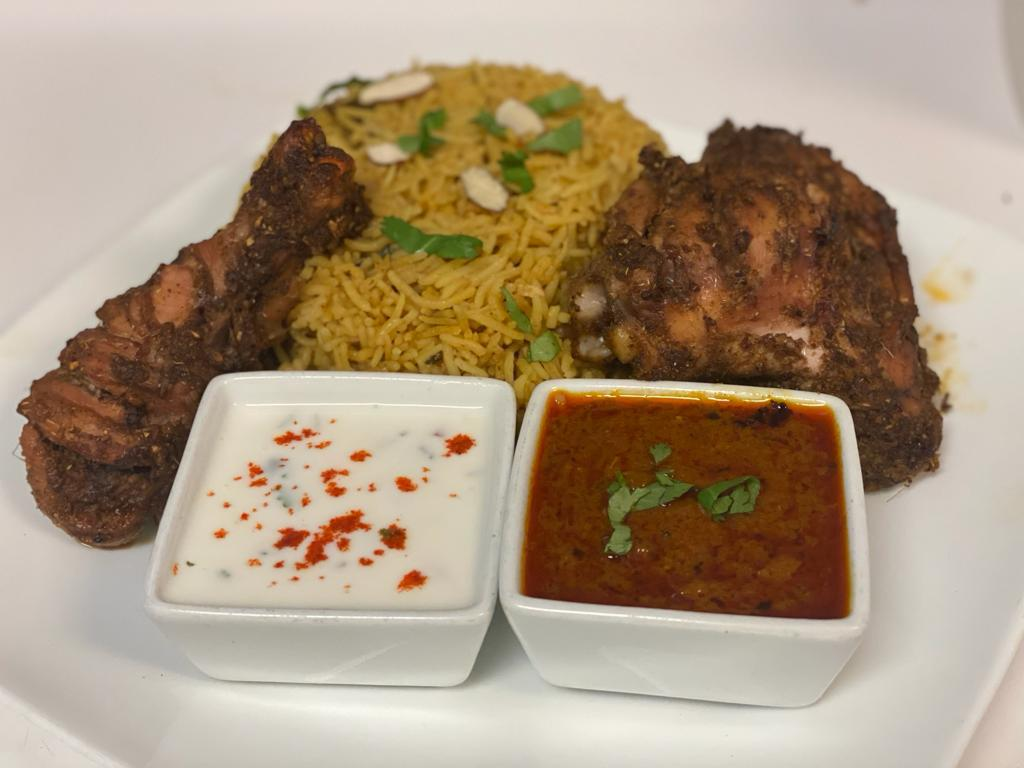 Chicken Leg Joint Fry with Mandi Rice (Pulaav)