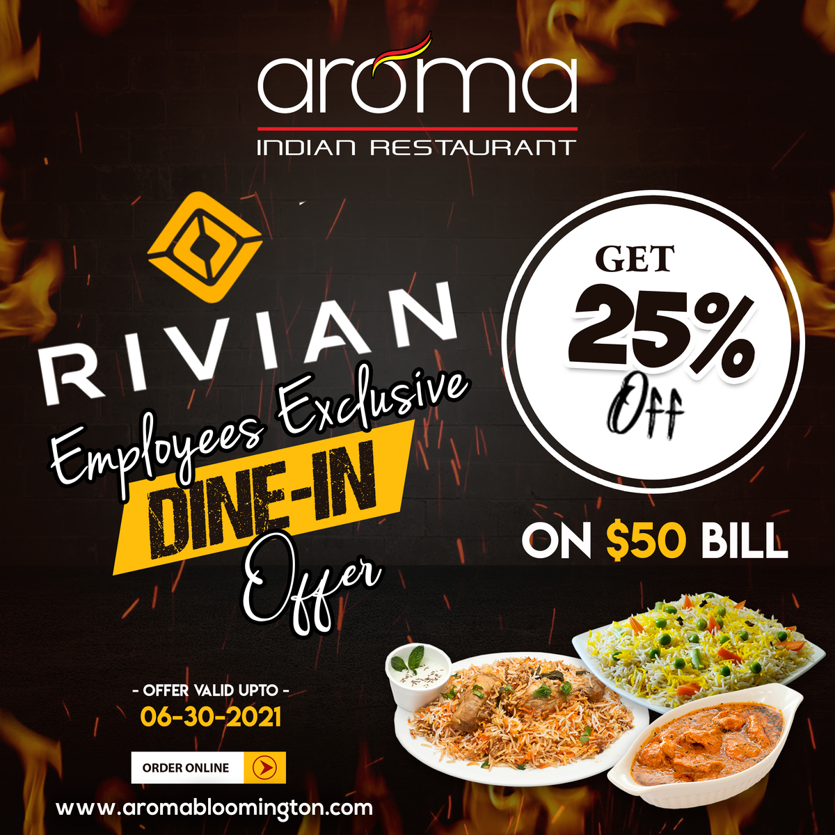 RIVIAN employees exclusive DINE IN Offer