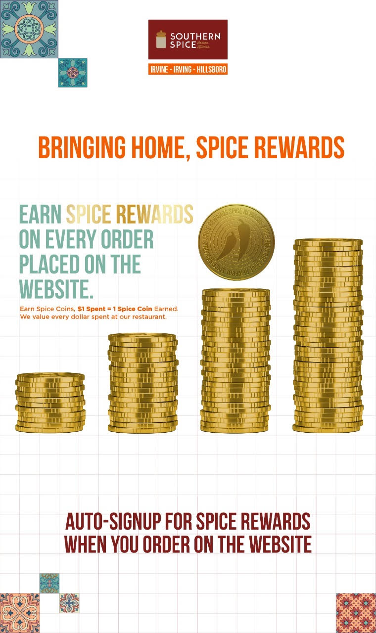 Earn SPICE REWARDS for every order placed on our website.