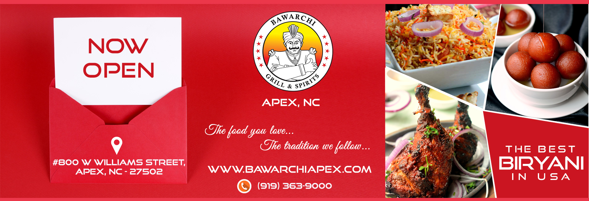 Bawarchi Now Open location - Apex, NC